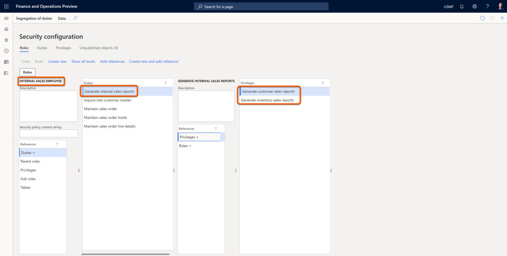 Security customizations configured