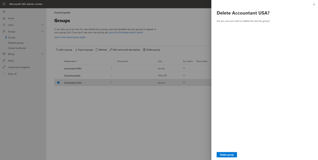 Delete Azure AD group